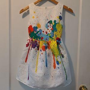 Other - Girls splatter paint Christmas dress sz 6 BRIGHT